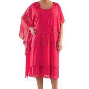 Plus Size Asymmetrical Chiffon Dress - La Mouette